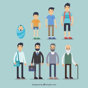 Colección de hombres blancos en diferentes edades