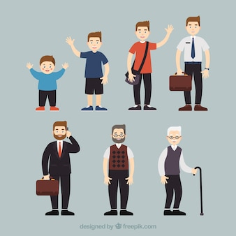 Colección de hombres blancos en edades diferentes