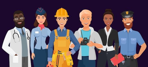 Colección de hombres y mujeres trabajadores de diferentes ocupaciones profesiones