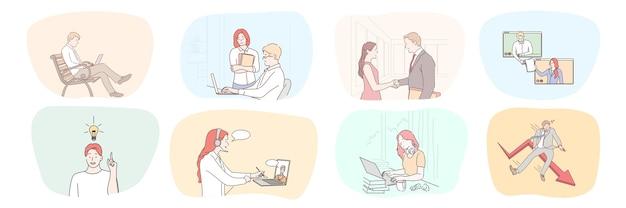 Colección hombres de negocios mujeres gerentes autónomos trabajando juntos haciendo trato hablando en línea.
