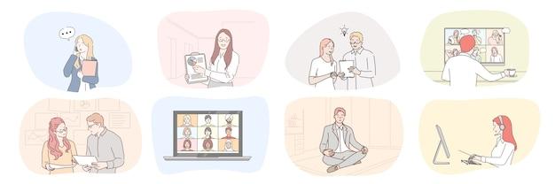 Colección hombres de negocios mujeres secretarias gerentes trabajan juntos estrategia de planificación hablando ilustración en línea