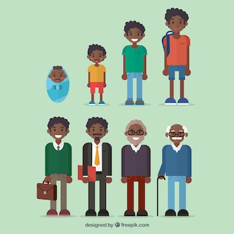 Colección de  hombres negros en diferentes edades
