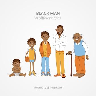 Colección de hombres negros en edades diferentes