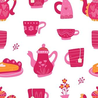 Colección de la hora del té de patrones sin fisuras con estilo escandinavo