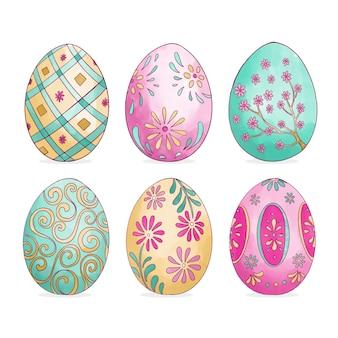 Colección de huevos de acuarela del día de pascua