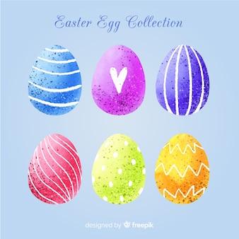 Colección de huevos del día de pascua en acuarela