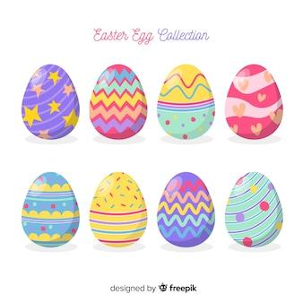Colección de huevos del día de pascua dibujados a mano
