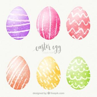 Colección de huevos del día de pascua en estilo acuarela