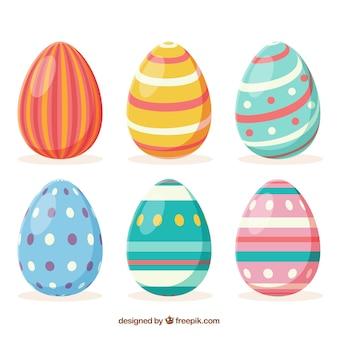 Colección de huevos del día de pascua en estilo plano