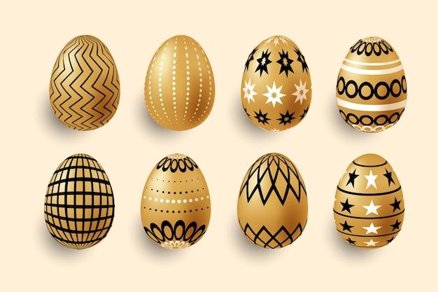 Colección de huevos de oro del día de pascua