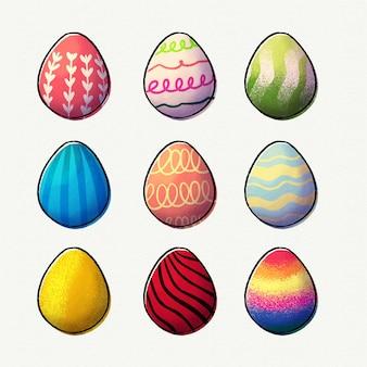 Colección de huevos de pascua de acuarela
