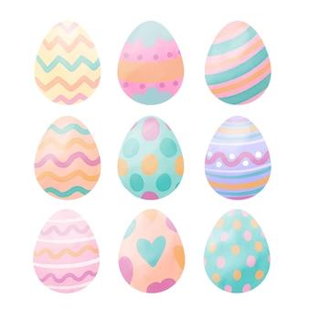 Colección de huevos de pascua en acuarela