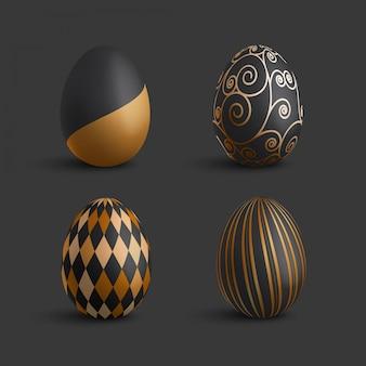 Colección de huevos de pascua de adorno de lujo de oro