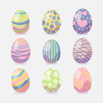 Colección de huevos de pascua decorativos coloridos dibujados a mano