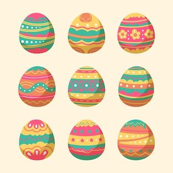 Colección de huevos de pascua dibujados a mano