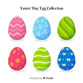 Colección de huevos de pascua en diseño plano