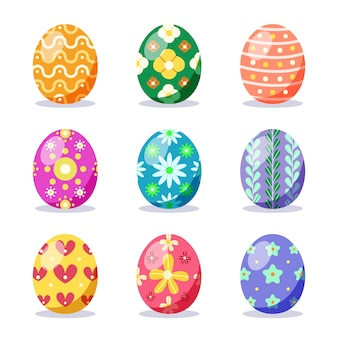 Colección de huevos de pascua de diseño plano