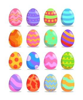 Colección de huevos de pascua en estilo plano