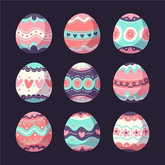 Colección de huevos de pascua multicolor