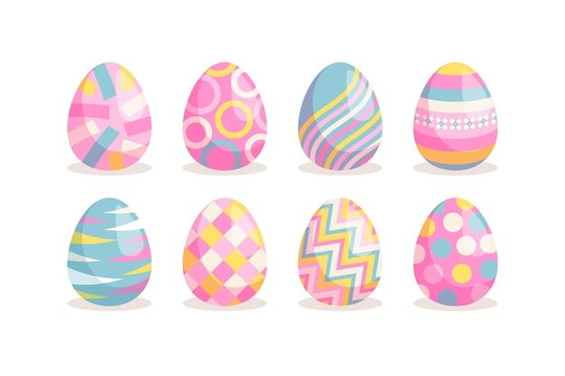 Colección de huevos de pascua planos