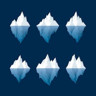 Colección iceberg de diseño plano