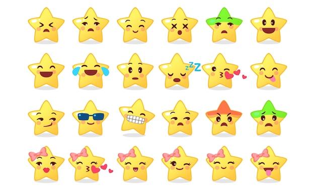 Colección de icono de emoticon de dibujos animados lindo estrella en blanco