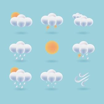 Colección de icono del tiempo 3d. vector de nube esponjosa. diseño de interfaz de usuario de símbolo de pronóstico del tiempo.