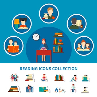 Colección de iconos con adultos y niños durante la lectura de libros electrónicos e impresos aislados