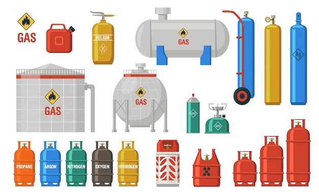Colección de iconos de almacenamiento de gas y combustible