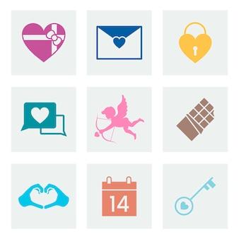 Colección de iconos de amor del día de san valentín