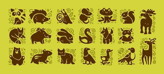 Colección de iconos de animales lindos aislados sobre fondo blanco.