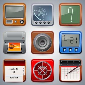 Colección de iconos de aplicaciones realistas vectoriales