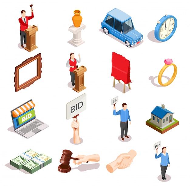 Colección de iconos de artículos de subasta