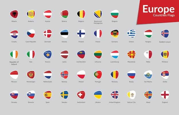 Colección de iconos de las banderas de los países europeos