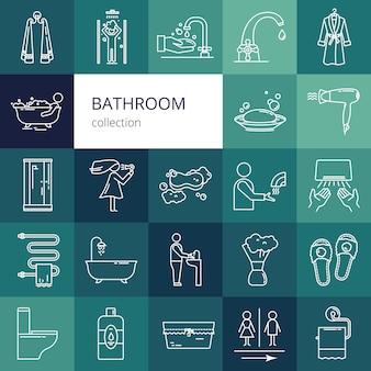 Colección de iconos de baño. ilustración de vector aislado de un color blanco