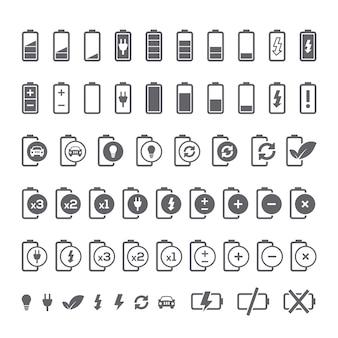 Colección de iconos de baterías