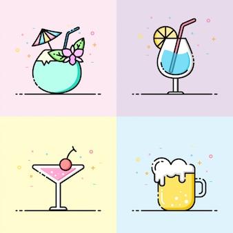 Colección de iconos de bebida en color pastel.