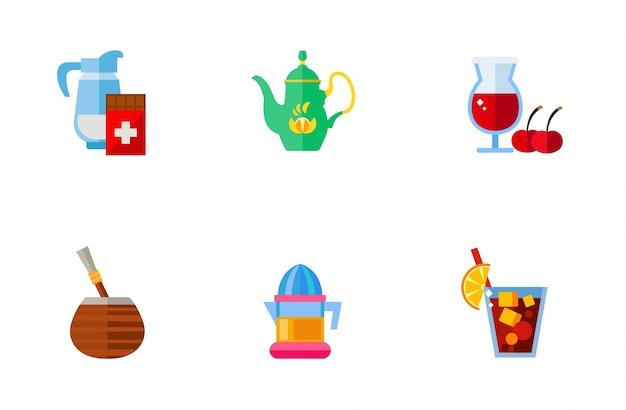 Colección de iconos de bebidas típicas