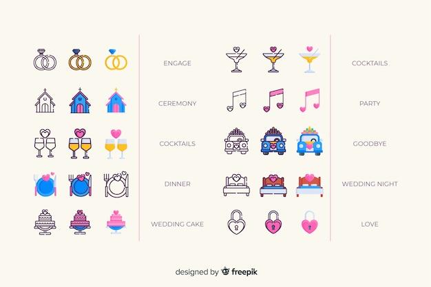 Colección de iconos de boda colorida