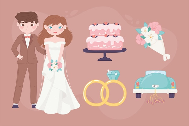 Colección de iconos de boda