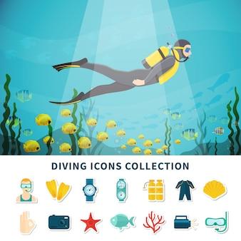 Colección de iconos de buceo