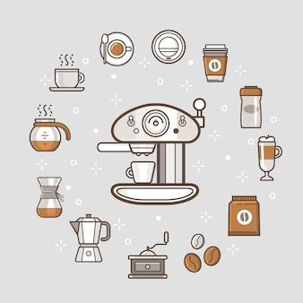 Colección de iconos de cafetería