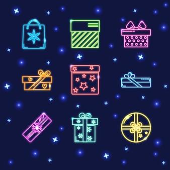Colección de iconos de caja de regalo de neón