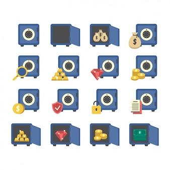 Colección de iconos de cajas fuertes