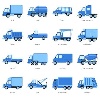 Colección de iconos de camiones planos