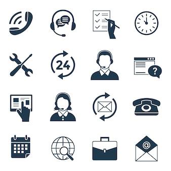 Colección de iconos de centro de atención telefónica digital y atención al cliente