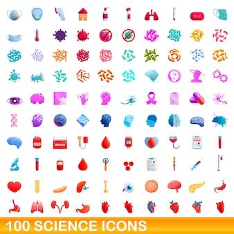 Colección de iconos de ciencia aislado en blanco