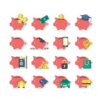 Colección de iconos a color de huchas de cerditos