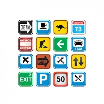Colección de iconos a color de señales de tráfico