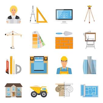 Colección de iconos de colores planos de arquitecto